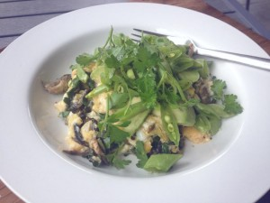 Scrambled Eggs with Mushrooms, Snow Peas & Fresh Herbs